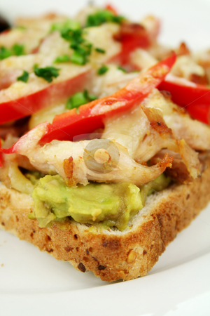 Chicken Open Grill Sandwich stock photo, Grilled open chicken sandwich with avocado, peppers and cheese with a side salad. by Brett Mulcahy