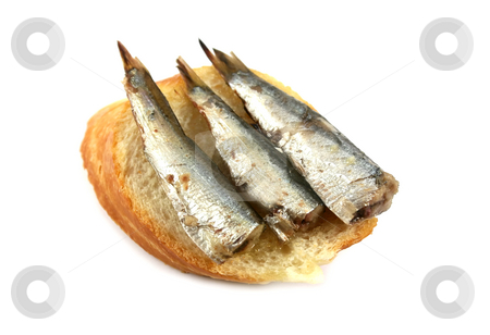 Sardines On Bread stock photo, Buffet snack of three sardines on a slice of French bread. by Brett Mulcahy