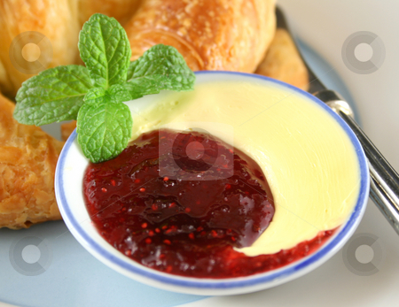 Jam And Butter stock photo, Raspberry jam and butter arrangement in a dish. by Brett Mulcahy