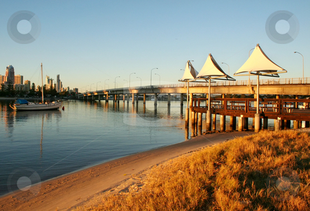 Shade Sails At Southport stock photo, Shade sails at dawn at Southport Gold Coast Australia at the Sundale Bridge looking toward Surfers Paradise. by Brett Mulcahy