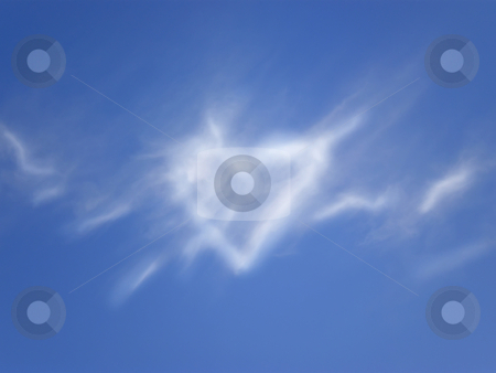 Heart cloud stock photo, White heart cloud on blue sky by Desislava Dimitrova