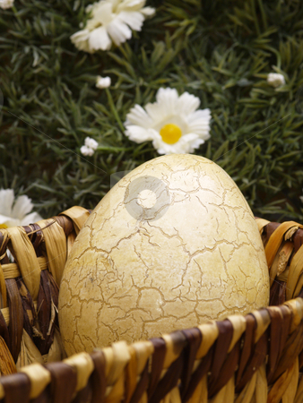 Easter basket stock photo, Basket with easter egg floral background by Torsten Lorenz