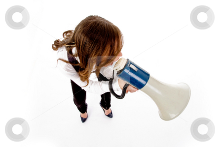 Top view of woman shouting into loudspeaker stock photo, Top view of woman shouting into loudspeaker against white background by Imagery Majestic
