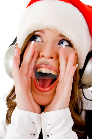 Front view of shouting woman wearing headphone stock photo, Front view of shouting woman wearing headphone on an isolated background by Imagery Majestic