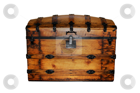Storage Chest stock photo, Wooden storage chest isolated on a white background. by R Deron