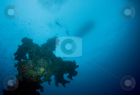 Hoki Mast stock photo, Two divers and a boat silhouetted on the surface above a coral encrusted mast from a World War II shipwreck in Truk Lagoon, Micronesia by A Cotton Photo