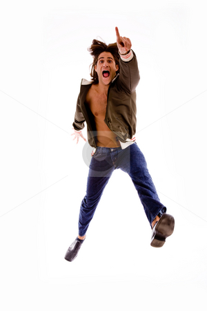 Front view of pointing male jumping stock photo, Front view of pointing male jumping on an isolated white background by Imagery Majestic