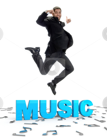 Young guy jumping and showing thumbs up stock photo, Young guy jumping and showing thumbs up with musical text by Imagery Majestic