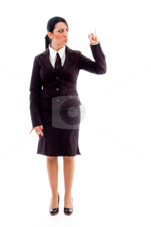 Standing manager showing counting hand gesture stock photo, Standing manager showing counting hand gesture against white background by Imagery Majestic