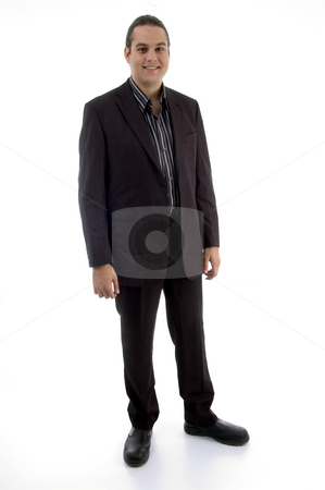 Standing adult businessman stock photo, Standing adult businessman on an isolated white background by Imagery Majestic