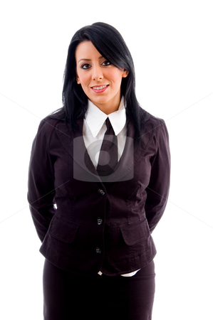 Young lawyer smiling stock photo, Young lawyer smiling with white background by Imagery Majestic