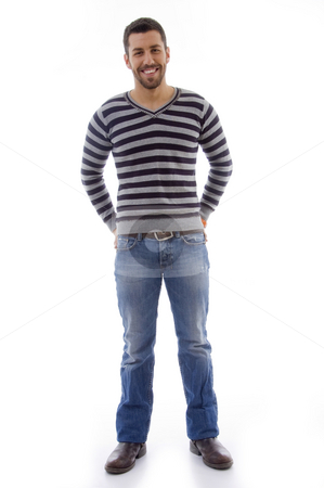 Full body portrait pose of standing man stock photo, Front view of smiling male with white background by Imagery Majestic