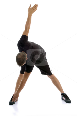 Man doing exercise stock photo, Man doing exercise on an isolated white background by Imagery Majestic