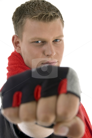 Man showing punch stock photo, Man showing punch against white background by Imagery Majestic