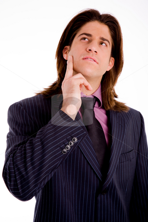 I have an idea stock photo, Portrait of thinking businessman on an isolated background by Imagery Majestic