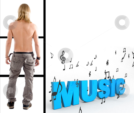 Shirtless man with three dimensional  music text stock photo, Back pose of shirtless man with three dimensional  music text by Imagery Majestic
