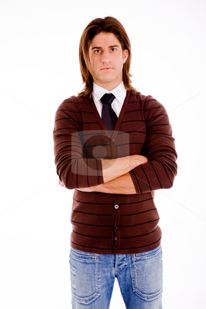 Student man with folded hands stock photo, Front view of man with folded hands on an isolated white background by Imagery Majestic