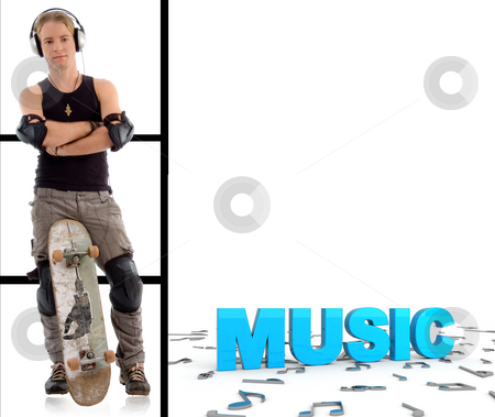 Man with skateboard and music text stock photo, Man with skateboard and three dimensional music text by Imagery Majestic