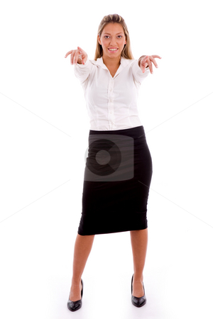 Front view of smiling manager pointing at camera with both hands stock photo, Front view of smiling manager pointing at camera with both hands on an isolated background by Imagery Majestic