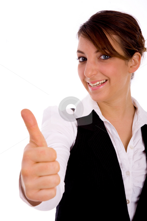 Front view of happy corporate woman with thumbs up stock photo, Front view of happy corporate woman with thumbs up with white background by Imagery Majestic