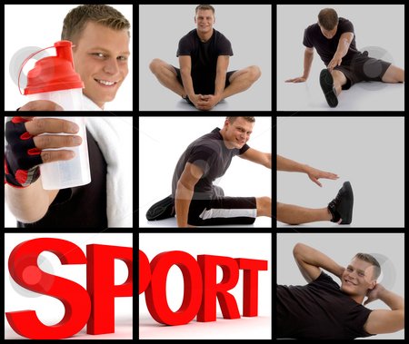Handsome sportive man showing sipper bottle stock photo, Collection of handsome sportive man showing sipper bottle and three dimensional isolated sport text by Imagery Majestic