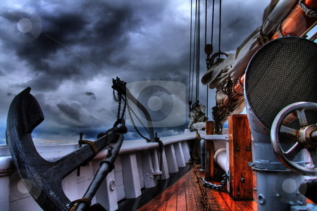 At Sea stock photo, On deck of a schooner on stormy day by R Deron