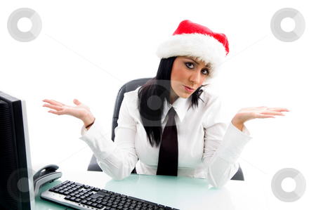 Christmas female in office stock photo, Christmas female in office against white background by Imagery Majestic