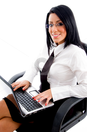 Lawyer working on laptop stock photo, Lawyer working on laptop on an isolated white background by Imagery Majestic