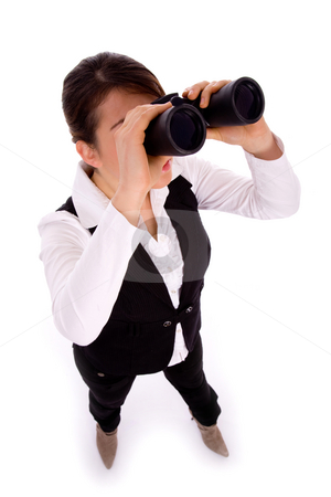 Full body pose of businesswoman viewing through binoculars stock photo, Full body pose of businesswoman viewing through binoculars on an isolated white background by Imagery Majestic