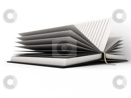 Open diary stock photo, Three dimensional open diary against white background by Imagery Majestic