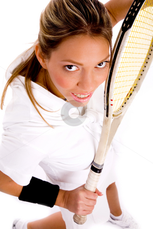 Top view of young tennis player stock photo, Top view of tennis player on an isolated white background by Imagery Majestic