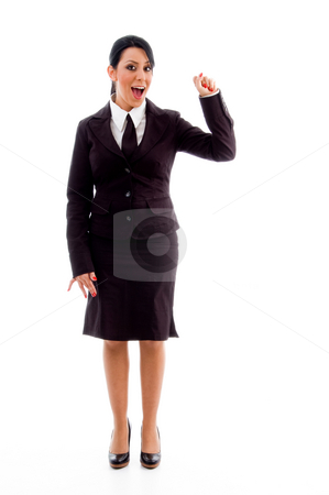 Standing accountant showing counting hand gesture stock photo, Standing accountant showing counting hand gesture on an isolated white background by Imagery Majestic