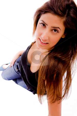 Front view of smiling sexy woman stock photo, Front view of smiling sexy woman against white background by Imagery Majestic