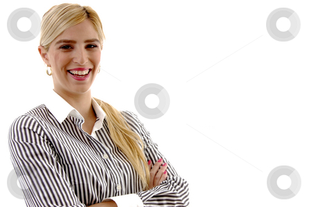 Portrait of businesswoman with folded hands stock photo, Portrait of businesswoman with folded hands on an isolated white background by Imagery Majestic