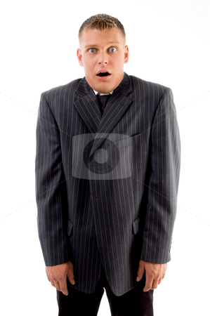Shocked young guy  stock photo, Shocked young guy on an isolated white background by Imagery Majestic