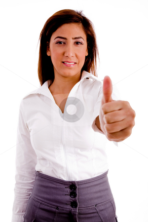 Portrait of executive with thumbs up stock photo, Portrait of executive with thumbs up on an isolated white background by Imagery Majestic