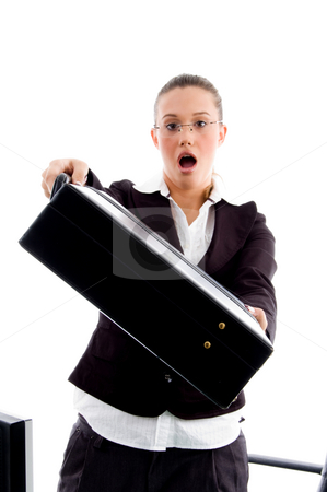 Young attorney showing office bag with surprised stock photo, Young attorney showing office bag with surprised on an isolated white background by Imagery Majestic