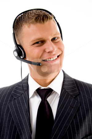 Friendly customer service communicating stock photo, Friendly customer service communicating on an isolated background by Imagery Majestic