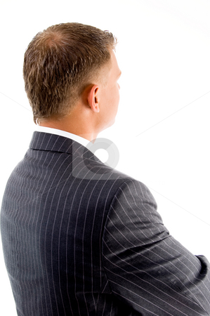 Back pose of handsome boss stock photo, Back pose of handsome boss against white background by Imagery Majestic