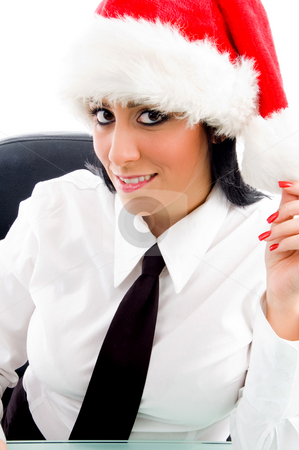 Christmas female looking at camera stock photo, Christmas female looking at camera against white background by Imagery Majestic