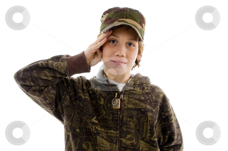 Front view of saluting young boy  stock photo, Front view of saluting young boy with white background by Imagery Majestic