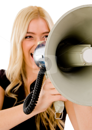 Portrait of female shouting in loud speaker stock photo, Portrait of female shouting in loud speaker on an isolated white background by Imagery Majestic