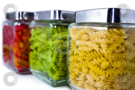 Colored Pasta in Jars stock photo, Colored Pasta in Jars by Denise Poloni
