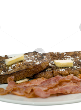 Breakfast Concept stock photo, Closeup view of some French Toast and cooked bacon by Richard Nelson