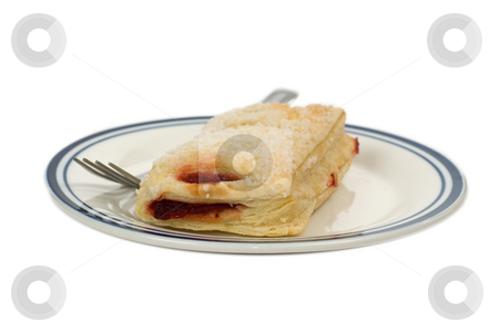 Cherry Pastry stock photo, A cheryy pastry along with a fork, shot on a glass plate and isolated against a white background by Richard Nelson