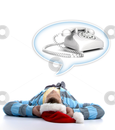 Man with christmas hat watching telephone stock photo, Laying man with christmas hat watching telephone in speech bubble by Imagery Majestic