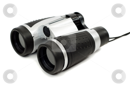 Binoculars stock photo, A set of plastic binoculars isolated against a white background by Richard Nelson