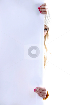 Front view of model peeping behind placard stock photo, Front view of model peeping behind placard on an isolated background by Imagery Majestic