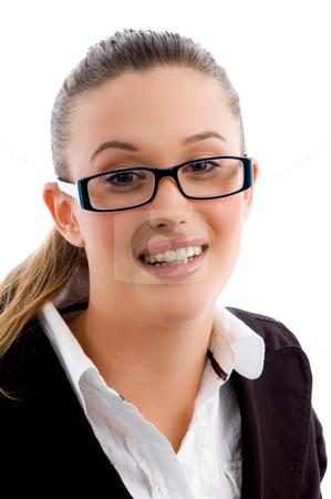 Executive wearing eyeglasses stock photo, Executive wearing eyeglasses with white background by Imagery Majestic