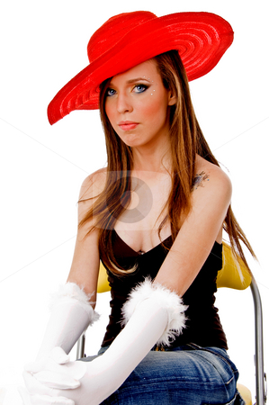 Front view of young woman wearing hat stock photo, Front view of young woman wearing hat with white background by Imagery Majestic